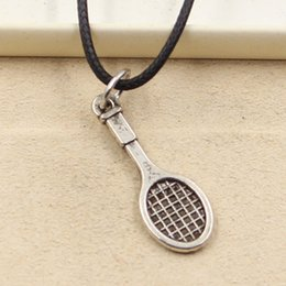 Wholesale Rope Racket - 12pcs New Fashion Tibetan Silver Pendant tennis racket 29*10mm Necklace Choker Charm Black Leather Cord Factory Price Handmade Jewlery