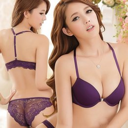 Wholesale Purple Bra Panty Set - Wholesale-New 2016 Luxurious Elegance Vs Bra And Panty Set Y-line Underwear Set Female Sexy Lace Brand Push Up Secret Women Bra Set