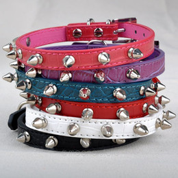 Wholesale Pu Leather Dog Collars - Wholesale-Free Shipping Chic Pet Cat Dog Rivet Collar Spiked Studded Strap Collars Buckle Neck PU Leather Pet Products