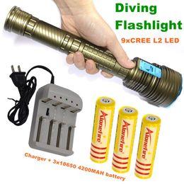 Wholesale Led Dive Torch Rechargeable - 21000 LM Underwater diving flashlight CREE L2 Waterproof 9L2 Dive Torch for diving + 3*18650 Rechargeable batteries +Charger DX9S 1SET