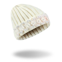 Wholesale Wholesale Women Bling Caps - High Quality Bling diamond Lovely Winter Hat Creative lace pearl wool cap diamond knitted hat wool pearl cap Xmas Hats Wholesale Price