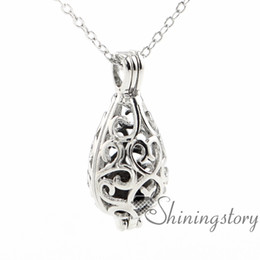 Wholesale Wholesale Aromatherapy Diffusers - teardrop openwork essential oil necklace diffuser necklace wholesale perfume necklace aromatherapy jewelry diffusers metal volcanic stone