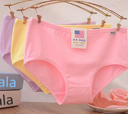 Wholesale Candies Apparel - 100% cotton panties candy color solid underpants women girl briefs knickers underwear apparel colorful drop shipping
