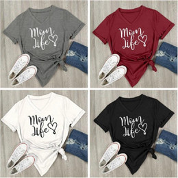 Wholesale Casual Life - Mom Life Heart Letter Printed V-Neck T-Shirt Short Sleeve Top Blouse Casual Shirt Round Neck Tops