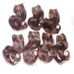 Wholesale 1kg Hair Extensions - 1kg lot Coloured brown 8 inch Brazilian Human Hair Extensions 30pcs Bulk Quantity Unprocessed Wave Weave Nice Luster 7A grade