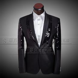 Wholesale Men S Blazers Slim Fit - Jacket+Pants+Bowtie 2016 Top Quality Custom Mens Suits Blazer Fashion Slim Fit Wedding Prom Business Black Sequins Male Tuxedo