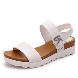 Wholesale Muffin Sandals - Thick soled sandals female summer 2017 new students a slip with flat sandals all-match muffin leisure Korean tide women sandals