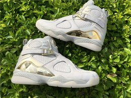 Wholesale Champagne Corks - Wholesale Top Quality Air 8 RETRO C&C CHAMPIONS CHAMPAGNE 832821-030 Basketball Geniune Leather White Golden Retro 8 Mens Basketball Shoes
