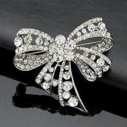 Wholesale Man Made Opal - Korean high-grade diamond color retention brooch diamond bow brooch fashion clothing manufacturers, wholesale-made men and women