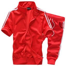 Wholesale Black Short Sleeve Cardigan - fashion summer men short sleeve moleton masculino men's tracksuit sport suit 6 colors M-5XL HPG288