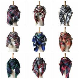 Wholesale Winter Muffler Kids - Kids Plaid Scarves Baby Striped Tassels Scarf Tartan Scarf Wraps Fashion Neckerchief Winter Shawl Ring Muffler Blankets 50 PCS YYA572