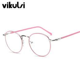Canada Gros-Rose Thin Frame Clear Lens Lunettes Pour Femmes Hommes En Métal Spectacle Frame Optique Myopie Lunettes oculos de grau femininos Lunette cheap wholesale pink eyeglasses Offre