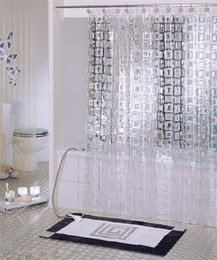 Wholesale Eva Shower Curtains - Wholesale- White Transparent Embossed EVA translucent waterproof mould proof thicken shower curtain bathroom shower curtains 180*200cm