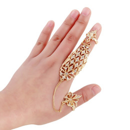 Wholesale Crown Rings For Girls - 2 Sets Gothic Bling Crown Punk Rock Rhinestone Cross Knuckle Joint Armor Long Full Finger Ring Gift For Women Girl D847E