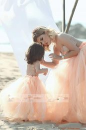 Wholesale Children Dresses Size 14 - Sexy Strapless Pink Custom Mother And Daughter Matching Dresses Tulle Skirt Prom Dress Flower Girls Formal Pleated Parent-Child Formal Wear