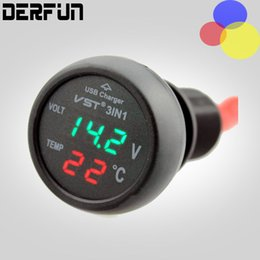 Wholesale Car Charger 3in1 - Guaranteed 100% 3in1 Universal Vehicle plug Digital Voltmeter Thermometer 12 24V Cigarette Lighter USB Car Charger Free Shipping