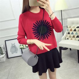 Wholesale Korean Winter Ladies Pullover - Wholesale- Women Sunflower Sweaters Autumn Winter Korean Fashion Casual Knitted Sweater Long Sleeve O-neck Ladies Pullover Tops 62937