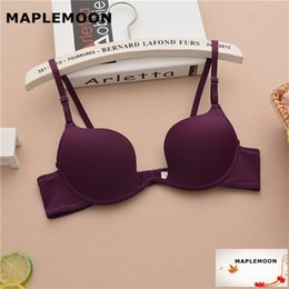 Wholesale Dark Purple Girls - 1919 dark purple Single row buckle underwear Summer girl Seamless shell cup sexy bra gather students Dropshipping U type cup bra