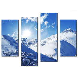 Wholesale United Paints - 4 Picture Combination Canvas Painting Art Sunny Winter Rocky Mountains Landscape In Colorado United States Jokul For Wall Decor