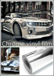 "Wholesale black chrome wrap - 300mm x 1520mm Chrome Air Free Mirror Vinyl Wrap Film Sticker Sheet Decal 12""x60"" Emblem Car Styling Bike Motor Body Protect"