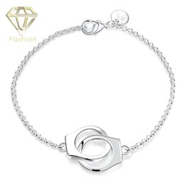Wholesale Unique Couples Bracelets - Chain Bracelet Couple Gift Unique Design Crossing Handcuff Shaped Silver Plated Bracelets Creative Jewelry for Women Wholesale