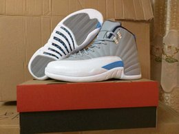 Wholesale Perfect Nylon - Drop Shipping Super Perfect Retro 12 Wolf Grey Blue Flu Game French Blue The Master OVO white Men Basketball Shoes Ship with box