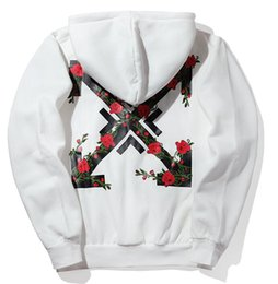 Wholesale White Hooded Cardigan Sweater - WHITE direction arrow roses printed striped hooded sweater men and women cardigan cashmere ja