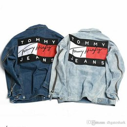 Wholesale Jean Jacket Sleeves - 2017 Men's Denim Jacket Fashion Jeans Jackets Slim Fit casual Streetwear Vintage Mens GOSHA Jean Jacket Clothing