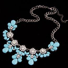 Wholesale Red Statement Bubble Necklace - New Boho Hot Sale Vintage Flower Crystal Bubble Collar Choker Bib Statement Women Necklace Jewelry Collier Bijoux