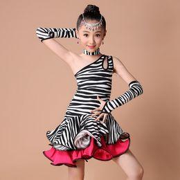 Argentina Salsa 2016 de la franja de vestido de la danza Niños América vestido de la danza de Gilrs Dot / cebra / del leopardo de los trajes de la competencia / Prácticas para la danza vestido Dancewear Suministro