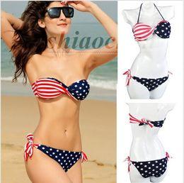 Wholesale Twist Bandeau Top Bikinis - Women USA Flag Bikini Twisted Stars Bikinis Stripes Swimwear Bandeau Swimsuit Sexy Bath Suit tassel Beachwear Bra Briefs Top Bottom A648 100
