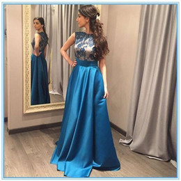 Wholesale Ocean Blue Gowns - Ocean Blue Conservative Satin Long Prom Dresses 2016 Cheap A Line Cap Sleeves Jewel Neck Appliques Zipper Back Formal Evening Gowns