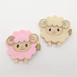 Wholesale Cheap Clip Lights - Felt Sheep Hairpins Glitter Horn Novelty Cheap Cartoon Animal Hair Clips Light Yellow Pink Cute Fashion Trendy Baby Hair Grips