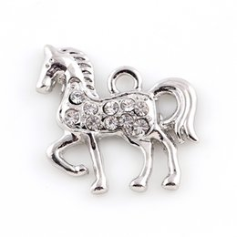 Wholesale Plates For Floating Lockets - Animal Horse Floating Locket Charms Alloy Charms Pendant for Jewelry Making DIY Locket Necklaces Bracelet 20*23mm 2 Colors