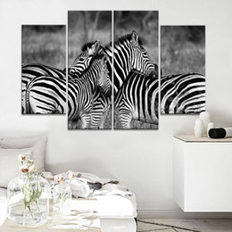 Wholesale Family Wall Picture Frames - Zebra family Frameless Paintings 4pcs (No Frame) Printd on Canvas Arts ,modern Home Wall Art, HD Print Painting Picture