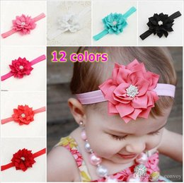 Wholesale Baby Flower Headband Diamond - Baby Girls Lotus Flower Diamond Headbands Infant Kids Hair Accessories Headwear Cute lovely Hair Ornaments Head bands For Baby Girls KHA18