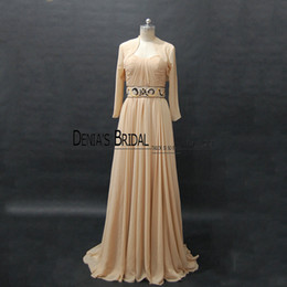 Wholesale Sweetheart Chiffon Strapless Sheath - 2017 Strapless A-Line Mother Of The Groom Dresses Pleated Bodice Sleeveless Waist Beaded Backless Sweep Train With Long Sleeves Jacket
