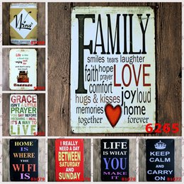 """Wholesale Poetry Paintings - Vintage Metal Painting """"English poetry WIFI family l"""" Tin Signs Wall Painting Art Wall Stickers Crafts Cafe Bar Bar Home Decoration 20x30 CM"""