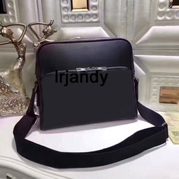 Wholesale Zipper Book - Top Quality Black new famous design classical style men messenger bags fashion crossbody bag Genuine Leather shoulder business bag book bag