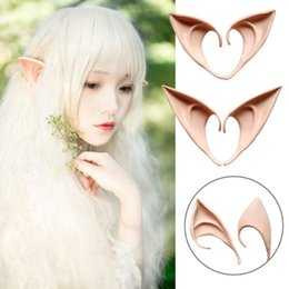 Wholesale latex ear tips - 2Pcs Lot Latex Fairy Pixie Elf Ears Cosplay Accessories LARP Halloween Party Latex Soft Pointed Prosthetic Tips Ear