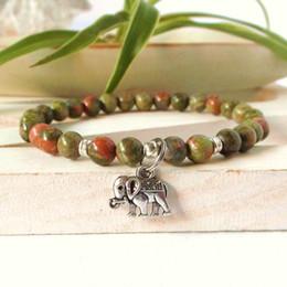 Wholesale Good Luck Elephant - SN0345 Elephant good luck bracelet for man unakite natural stone bracelet Ganesh yoga healing energy wrist mala bracelet men's