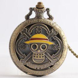 Wholesale One Piece Watch Luffy - One Piece Monkey D Luffy Pocket Watch bronze mugiwarn pirates necklaces locket Fob quartz Watches men women lovers anime jewelry 230160