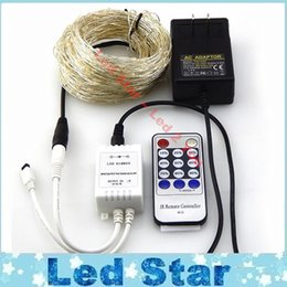 Wholesale Led Christmas Lights Power Adapter - 20M 200leds   30M 300leds   50M 500 LEDs Cool White LED String Light Christmas Lights Silver Wire Remote Control + power adapter
