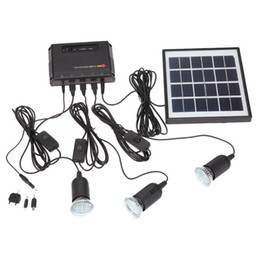Wholesale Outdoor Lamps Home Lighting - Outdoor Solar Power Panel LED Light Lamp USB Charger Home System Kit Garden Path Camping lamp