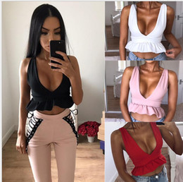 Wholesale Sexy Women Military - European fashion solid color new sleeveless back under the lotus leaf vest black, red, pink, white, military green support mixed batch