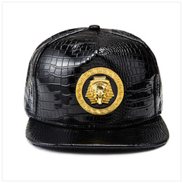 style flat ball cap Coupons - New Gold Egypt Pharaoh Baseball Cap PU Leather Hip Hop Punk Style Flat-Brimmed Snapback Hat Men Women Cool Boy Fashion Caps