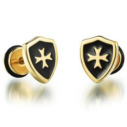 Wholesale Cool Earrings For Men - Hot Sell Fashion Jewelry Cool Man Cross Stud Earrings For Men, Men's Stainless Steel Earring Anti-allergy Earring GE303
