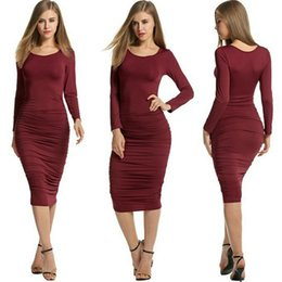Wholesale Cheap Dresses For Night - Autumn Cheap Sexy Party Dress Long Sleeve Club Dresses Crew Neck Milk Fiber Elastic Bodycon Sexy Clothes For Women 2016 Newly