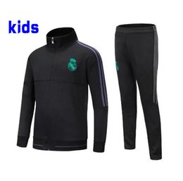 Wholesale Train Suits - AAA+Real Madrid KIDS BOYS soccer 2017 Real madrid kids soccer chandal football tracksuit Children's KIDS training suit skinny pants Sportsw