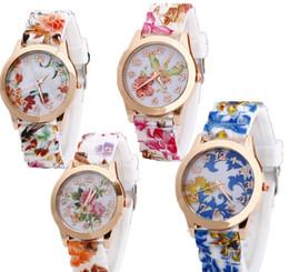 Wholesale Geneva Silicone Print Watches - Geneva Printed Flower watch Women Silicone Watches Ladies Dress Watch Quartz Watches For Women Fashion wristwatch